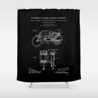 Motorcycle Sidecar Patent 1912 - Black Shower Curtain