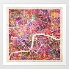 London Map Watercolor Art Print