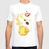 Mario - Fire Flower Mario Mens Fitted Tee White SMALL