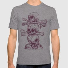 Skull Totem Mens Fitted Tee Tri-Grey SMALL
