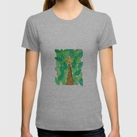 Watercolor Giraffe Womens Fitted Tee Athletic Grey SMALL