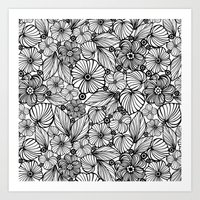Candy Flowers In Black Art Print