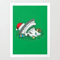 The Santa Shark Art Print