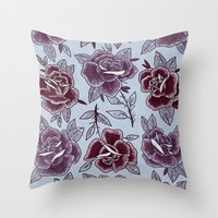 Dozen Roses - Purple Throw Pillow