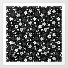 Black & White Floral Art Print