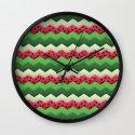 Watermelon Chevron Wall Clock