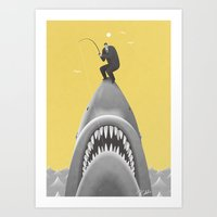 shark Art Prints featuring SHARK by Kouzou Sakai