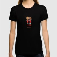 Bergkamp and Henry in Arsenal Womens Fitted Tee Black SMALL