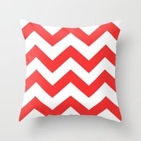 Red Chevron Lines Throw Pillow