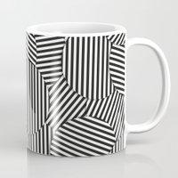 Striped Disc Pattern - Black and White Mug