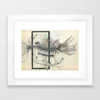 rose-Fish-bone dinosaur Framed Art Print