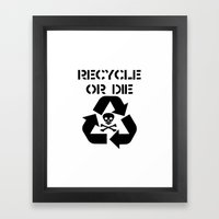 Recycle Black Framed Art Print