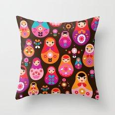 Russian Dolls illustration pattern print Throw Pillow