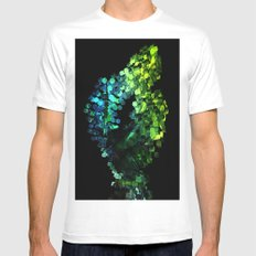 Cellular Automata White Mens Fitted Tee SMALL