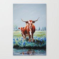 Longhorns and Bluebonnets Canvas Print