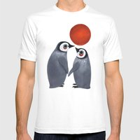 Penguin Love Mens Fitted Tee White SMALL