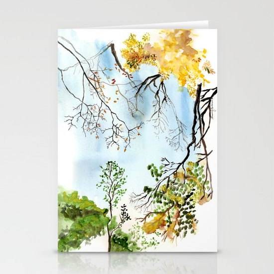 the only way out is up Stationery Card