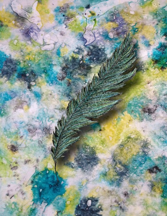 CRAYON LOVE: Aqua Feather Art Print
