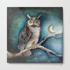 Moon Owl Metal Print