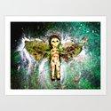 Grunge Flying Baby Doll Art Print