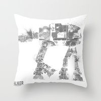 Throw Pillows featuring Star Wars Vehicle AT-AT Walker by Nicholas Hyde