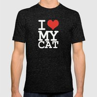I Love My Cat Mens Fitted Tee Tri-Black SMALL