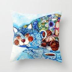 Earl Grey tea cat Throw Pillow