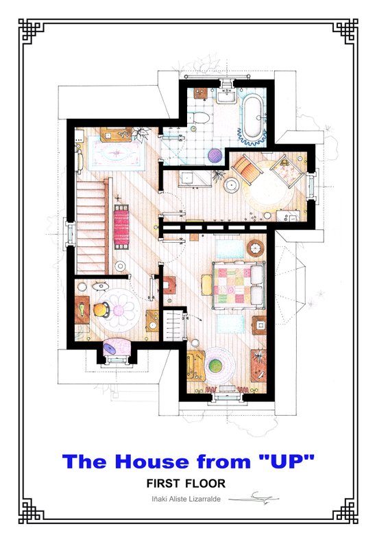 The House from UP - First Floor Floorplan Art Print