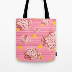 hydrangea spots and stripes Tote Bag