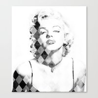 Marilyn Monroe Black and White Checkered Canvas Print