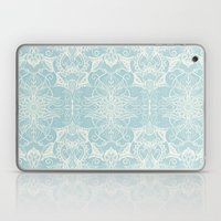 Floral Pattern in Duck Egg Blue & Cream Laptop & iPad Skin