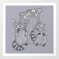 Fancy Raccoons Art Print