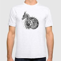 Nesting Dragon Mens Fitted Tee Ash Grey SMALL