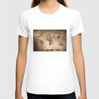 Stars World Map. Sepia Womens Fitted Tee White SMALL