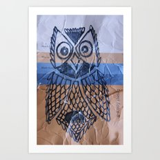orange owl Art Print