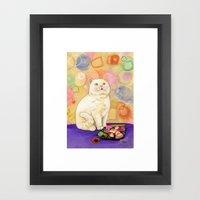 Sushi Cat In Love Framed Art Print