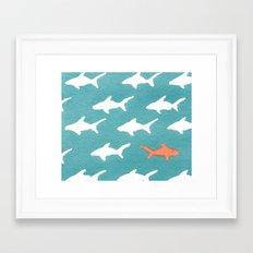 Splashy Sharks Framed Art Print