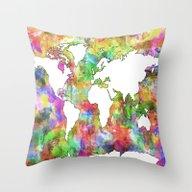 Throw Pillow featuring World Map by Bekim ART