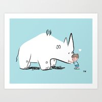 Mr. White Rhino Gets A H… Art Print