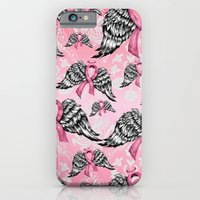 Breast cancer awareness winged ribbons pattern.  iPhone 6 Slim Case