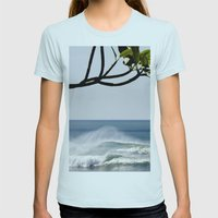 Plumeria Womens Fitted Tee Light Blue SMALL