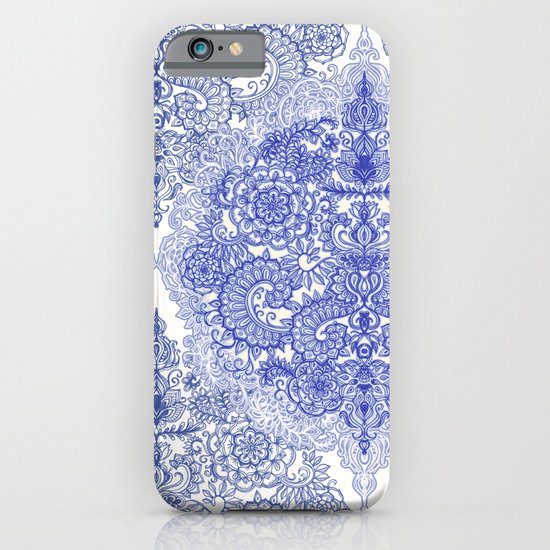 Happy Place Doodle in Cornflower Blue, White & Grey iPhone & iPod Case