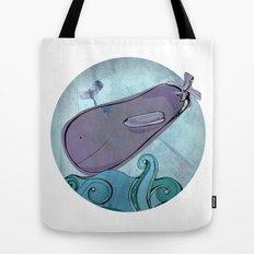 Eggplant Whale Tote Bag