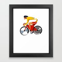 Solo Track Cyclist Framed Art Print