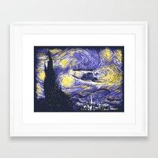 Starry Delorean Framed Art Print