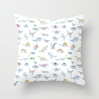 jurassic dino Throw Pillow