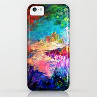 iPhone 5c Cases featuring WELCOME TO UTOPIA Bold Rainbow Multicolor Abstract Painting Forest Nature Whimsical Fantasy Fine Art by EbiEmporium