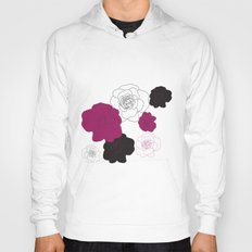 Black and Pink Roses on White Hoody