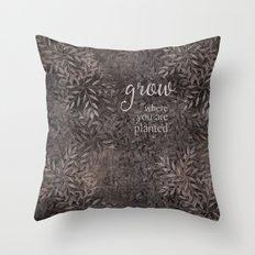 leafy grow Throw Pillow
