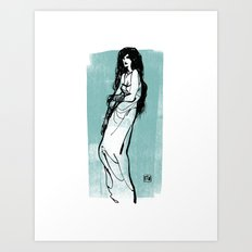 Darkness Girl Art Print